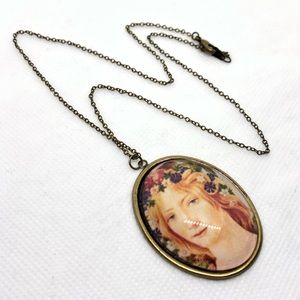Jewelry - Antique Brass Botticelli Portrait Cameo Necklace